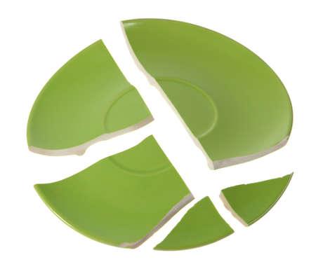 Broken green plate on white background Imagens