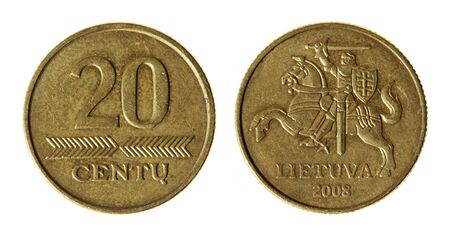 Coin Lithuania lit on the white background (2008 year) photo