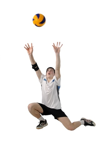 volleyball team: Volleyball player with the ball on a white background