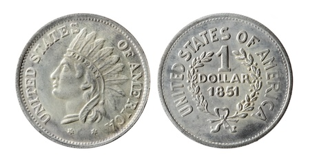 Old American coin on a white background (1851 year) Stock Photo - 8660028
