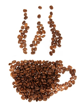 Silhouette mugs of coffee beans on the white background photo