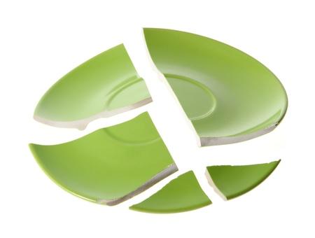 Broken green plate on white background Stock Photo