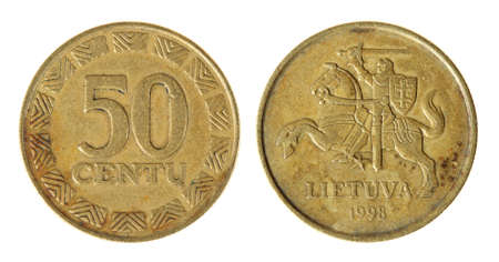 Coin Lithuania lit on the white background (1998 year) photo