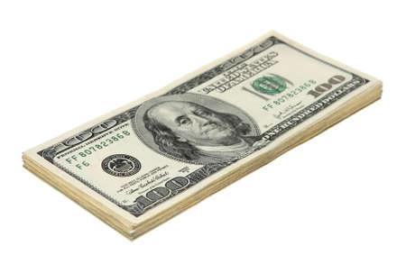 Bloco do dinheiro americano no fundo branco