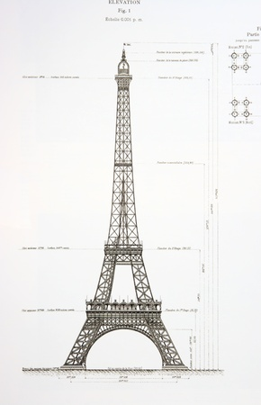 Old draft of the Eiffel Tower, background