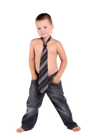 Little boy necktie on the white background Stock Photo - 10059132
