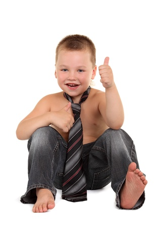 Little boy necktie on the white background photo