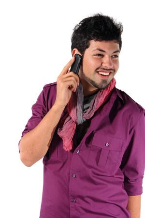young man talking on the phone on the white background photo
