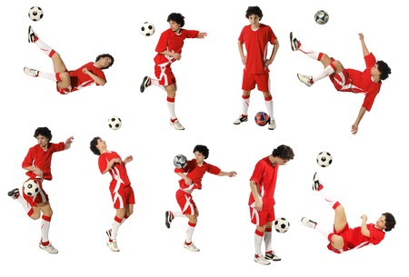 soccer kick: Boy with soccer ball, Footballer on the white background. (isolated)