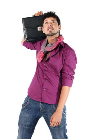 young businessman with a briefcase on white background photo