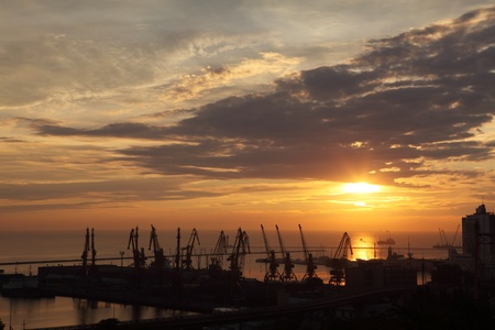 Sunset in the harbor of Odessa, Ukraine photo