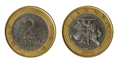 lit collection: Coin Lithuania lit on the white background (2002 year)