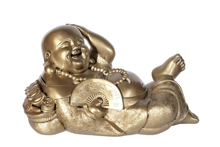 Statuette of Hotei (Buddha) with a fan on the white background