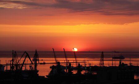 sunrise in the harbor of Odessa, Ukraine photo