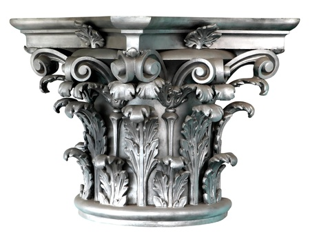 Silver Corinthian order columns on the white background Imagens