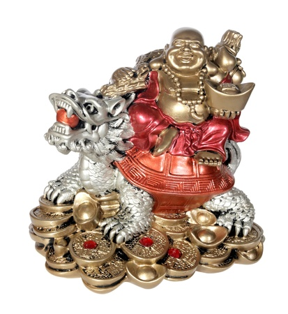 Statuette of Hotei (Buddha) to the dragon on the white background photo