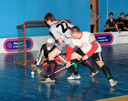 MAKEEVKA, DONETSK REGION, UKRAINE - FEBRUARY 18: Floorball Championship of Ukraine 2011-2012. February 18, 2012 in Makeevka, Ukraine