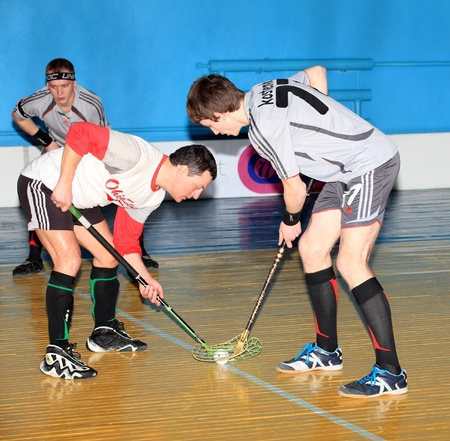 MAKEEVKA, DONETSK REGION, UKRAINE - FEBRUARY 18: Floorball Championship of Ukraine 2011-2012. February 18, 2012 in Makeevka, Ukraine