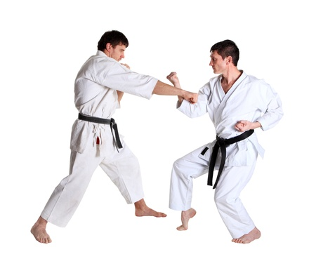 Karate  Men in a kimono with a white background  Battle sports capture Stock Photo - 13136970