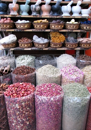 Various of Indian colorful powder spices on the market photo