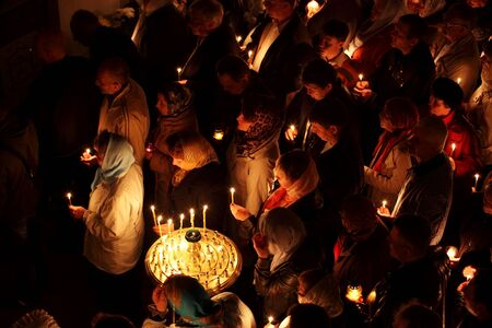 makeevka: MAKEEVKA, UKRAINE - APRIL 15: Easter in the Orthodox Church of St. Serafim Sarovskiy on april 15, 2012 in Makeevka, Ukraine