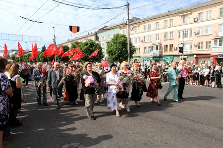 MAKEEVKA, UKRAINE - MAY 9, 2012: Ceremonial parade at Makeevka - dedicated to the 67th Anniversary of victory in Great Patriotic War (World War II). Parade of victory on May 9, 2012 in Makeevka, Ukraine.
