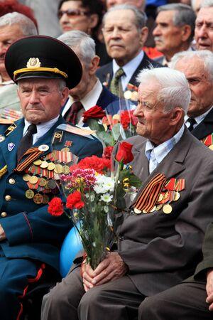 MAKEEVKA, UKRAINE - MAY 9, 2012: Ceremonial parade at Makeevka - dedicated to the 67th Anniversary of victory in Great Patriotic War (World War II). Parade of victory on May 9, 2012 in Makeevka, Ukraine.  Stock Photo - 13575523