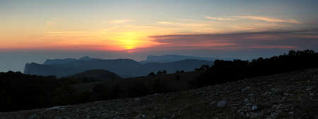 sunset in the mountains.  Crimea, Ukraine. (panorama)  photo