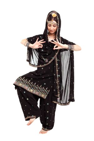 national costume: Young girl in the Indian national costume Stock Photo