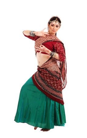 indian sexy: Young girl in the Indian national costume Stock Photo