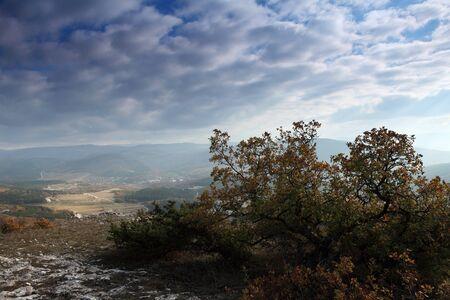 clouds on the mountain  Cave city Eski-Kermen, Crimea, Ukraine VI-XIV centuries photo