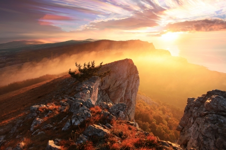 Sunrise in the mountains Ai-Petri  Alupka, Crimea, Ukraine photo