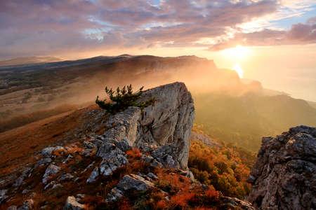 alupka: sunrise in the mountains Ai-Petri  Alupka, Crimea, Ukraine