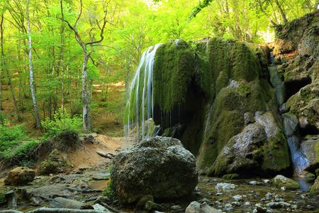 Waterfall Silver Jets, Grand Canyon of Crimea, Crimea, Ukraine  photo