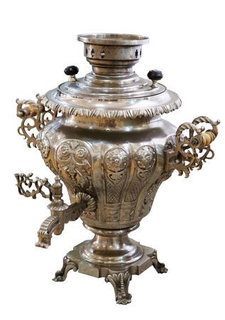 Old Russian samovar on white background, isolated photo