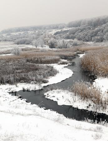 makeevka: Winter scenic of the River Kalynova, Makeevka, Donetsk region, Ukraine
