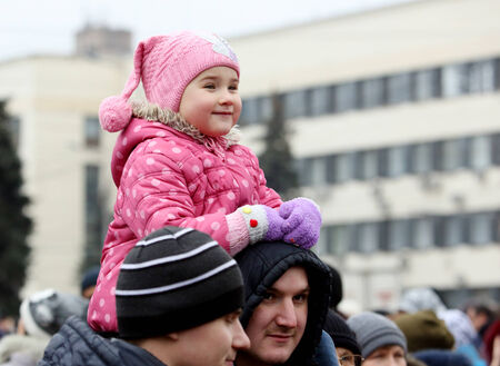 punitive: DONETSK, NOVOROSSIA - DECEMBER 20, 2014: Celebration of the International Day of Solidarity in Donetsk on December 20, 2014 in Donetsk, Novorossia. Editorial