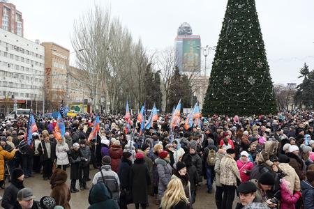 strife: DONETSK, NOVOROSSIA - 20 DICEMBRE 2014: Celebrazione della Giornata Internazionale di Solidariet� a Donetsk il 20 dicembre 2014 a Donetsk, Novorossia.