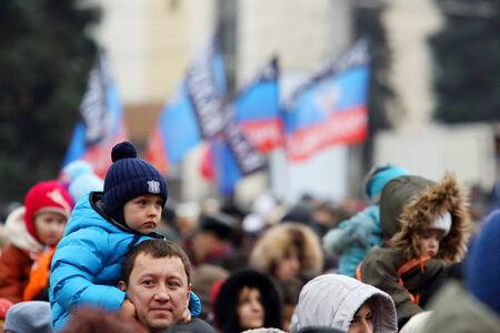 punitive: DONETSK, NOVOROSSIA - DECEMBER 20, 2014: Celebration of the International Day of Solidarity in Donetsk on December 20, 2014 in Donetsk, Novorossia