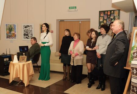 donetsk: DONETSK - APRIL 9: Opening of the exhibition dedicated to the celebration of Easter Easter joy in ArtDonbass in Donetsk. April 9, 2015 in Donetsk Editorial