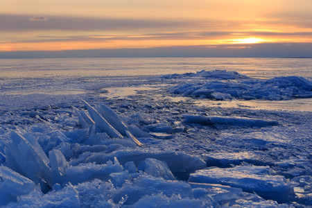 st  petersburg: Sunset on the Gulf of Finland, St. Petersburg, Russia Stock Photo