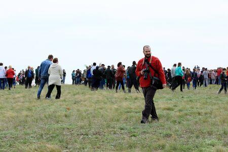 celebrated: ROSTOV REGION, RUSSIA - APRIL 18: International Festival of ecological tourism Celebrated steppe in Rostov region, Russia. April 18, 2015.