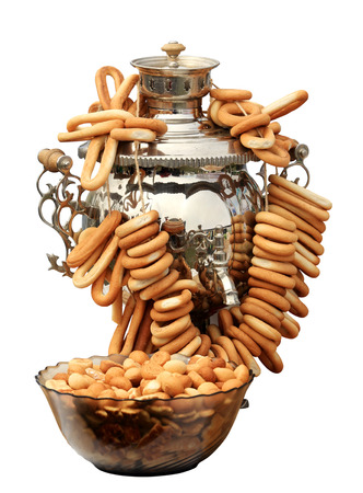 samovar: Russian samovar with bagels on the white background, isolate.