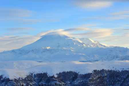elbrus: Movement of the clouds on the mountains Elbrus, Northern Caucasus, Russia.