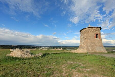 elabuga: Movement of clouds over the Tower of ancient Bulgar fortress on a high cliff on the banks of the Kama River, Elabuga, Republic of Tatarstan, Russia