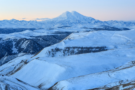 sunrise in the mountains Elbrus, Northern Caucasus, Russia. Stock Photo