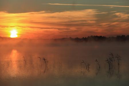 reveille: the lake Sobachye, Republic of Khakassia, Russia,