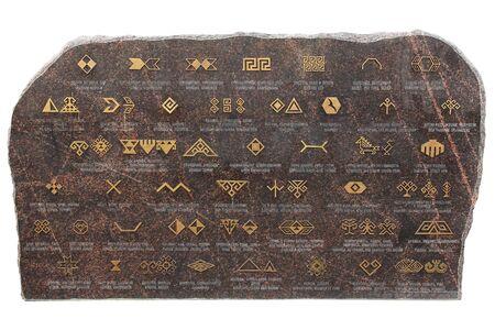 Runas y símbolos de Chuvash sobre un fondo blanco. Cheboksary, República de Chuvashia. Rusia Foto de archivo
