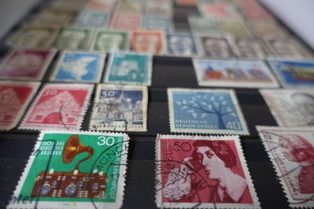 Collection of old german stamps in album Stock Photo
