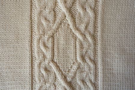 cable knit: Beige handmade textile with vertical cable knit pattern from above